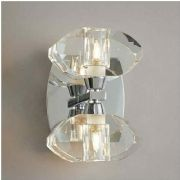 Alfa Double Wall Light in Polished Chrome with Chunky Glass Shades, Switched - MANTRA M0424PC/S